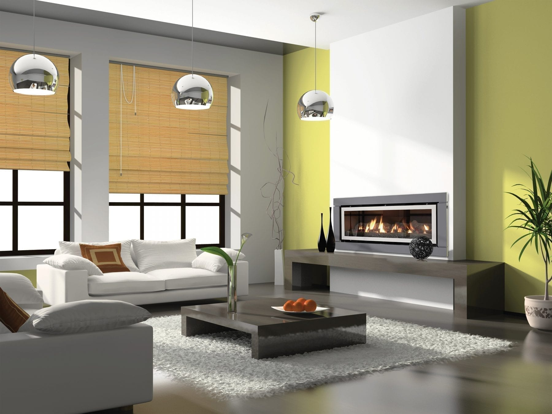 Inbuilt gas log fires display